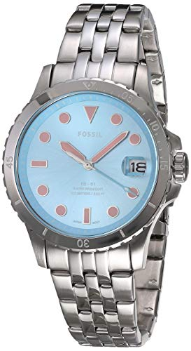 Fossil Women's FB-01 Quartz Stainless Three-Hand Watch, Color: Silver, Blue Dial (Model: ES4742)