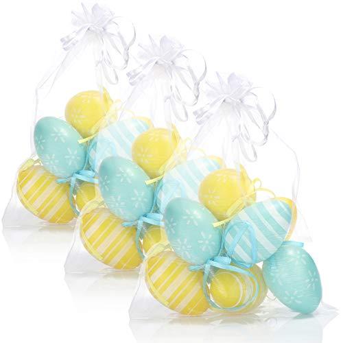 com-four® 24x Ostereier in bunten Farben mit Band zum Aufhängen - Dekoration zu Ostern mit verschiedenen Motiven - 6 cm