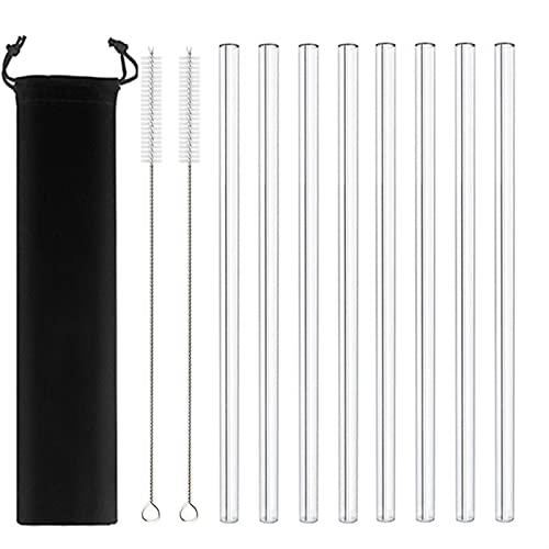 MVAOHGN Paja de Liso de Vidrio de 20 cm, pajitas de Bebidas claras Reutilizables para Batidos de Batidos de Batidos de Agua amigable con el Medio Ambiente. (Color : 8pcs Straight Black)