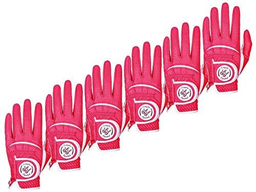 Simple Symbol - Guantes de golf para hombre de piel de alta calidad, 6 unidades, 6 manos izquierdas, 6 colores, rojo, azul, azul marino, azul cielo, café, beige (rojo, M,...