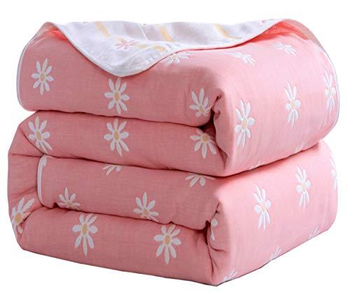 Hayisugal Kuscheldecke zweiseitig Tagesdecke Bettüberwurf 100% Baumwolle Kinder Überwurf Decke Baumwolldecke Bunte Decke Kinder Bettdecke Decken Winter Sofa Decke, Rosa Gänseblümchen, 150 x 200cm