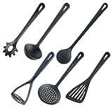 Westmark Set de utensilios de cocina, 6 piezas, Espátula, Cuchara para mezclar, Espumadera, Cuchara para espaguetis, Cucharón para sopa, Prensa para patatas, Plástico, Gentle, Negro, 283522E6