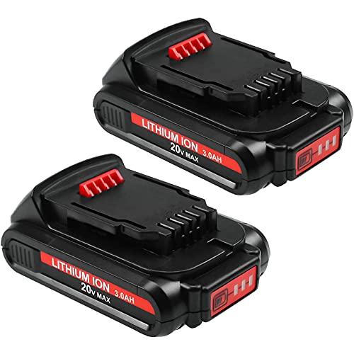 2-Pack 20 Volt 3.0Ah DCB203 Battery Compatible with Dewalt 20V Batteries Lithium DCB200 DCB201