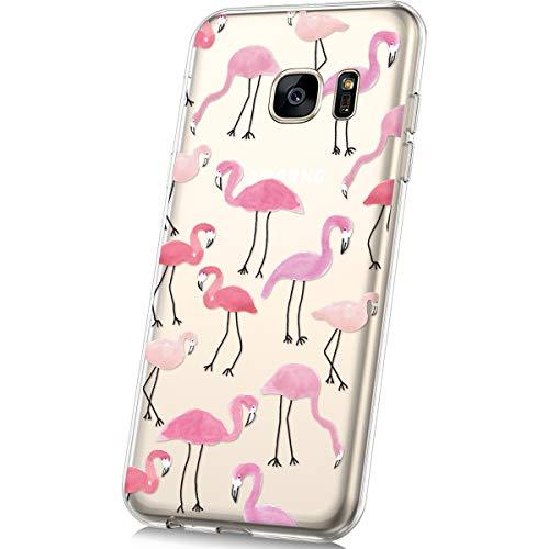 JAWSEU Funda Compatible con Samsung Galaxy S7 Transparente Suave TPU Silicona Gel Funda con Dibujos Animados Diseño Ultra-Delgado Anti-arañazos Resistente Protectora Carcasa,Flamenco
