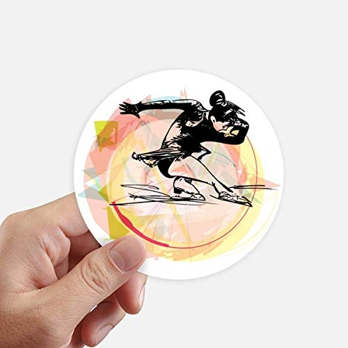 DIYthinker Deporte de Invierno Patinaje artístico Acuarela Ilustración Redondas 10cm Pared Maleta portátil Motobike Decal 8pcs Diámetro 10cm