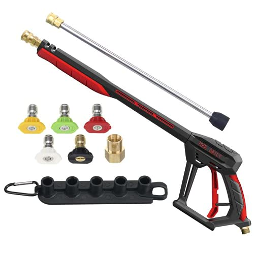 Tool Daily Pressure Washer Gun with Replacement Extension Wand, M22 14mm/15mm Fitting, 5 Power Washer Nozzle Tips with Holder, 4000PSI, 44 Inch
