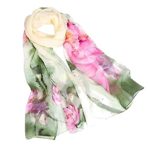 Quintion Cooper Sciarpa da donna autunnale in seta, sciarpa da donna con stampa floreale e loto H Taglia unica