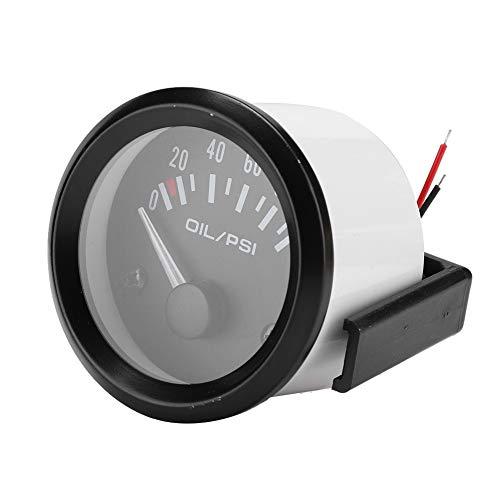 SANON 52Mm / 2In 12V Universal Indicador de Manómetro de Presión de Aceite Electromagnético para Coche Medidor Modificado Automático