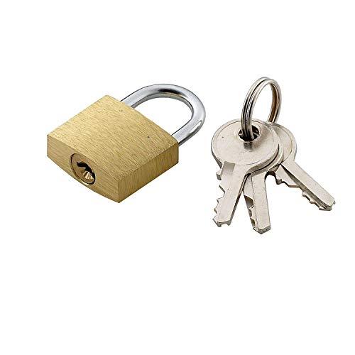 20mm Brass Padlock Luggage Suitcase Lock 3 Keys