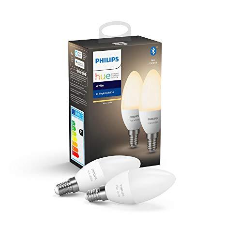 Philips Lighting Hue White Lampadine LED, con Bluetooth, Attacco E14, Dimmerabile, Tutte le Sfumature della Luce Bianca, 2 Pezzi