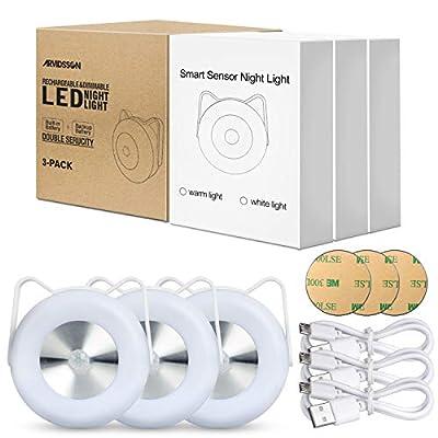 Rechargeable Motion Sensor LED Puck Lights, Battery-Powered Under Cabinet Lighting, Magnetic Stick-on Lights, Wireless Closet Light, Under Counter Lights, 3-Pack