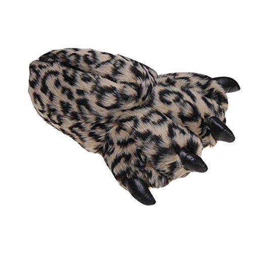 YOUJIA Unisex Plüsch Warme Pantoffeln Monster Minions Hausschuhe Tierhausschuhe Krallen Bärentatzekralle Hauspantoffeln Cosplay Kostüme, Licht Kaffee
