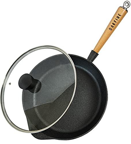 Oakfire Cast Iron Sauté Pan with Glass Lid 28 cm Induction Pan Cast Iron Frying Pan with Non-Stick Patina
