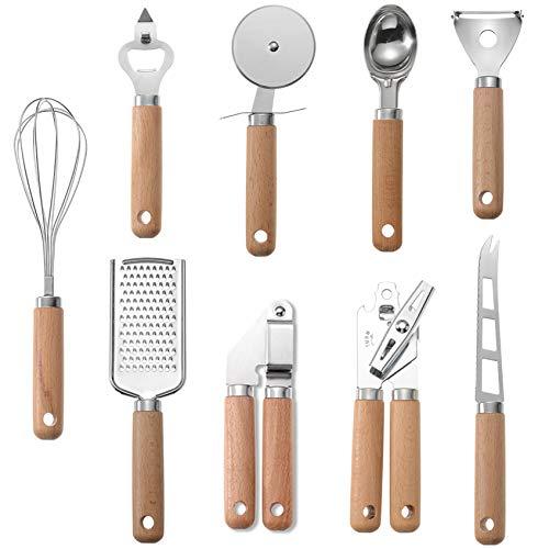 9-teiliges Küchenutensilien-Set, Edelstahl Kochutensilien mit Holzgriffen, Ihr guter Helfer in der Küche.