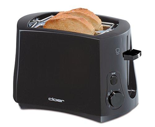 Cloer 3310 Cool-Wall-Toaster / 825 W / für 2 Toastscheiben / integrierter Brötchenaufsatz / Krümelschublade / Nachhebevorrichtung