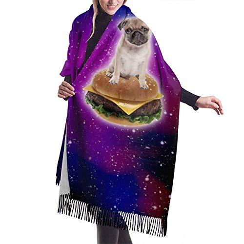 Bufanda de mantón Mujer Chales para, Burger Pug in Space Divertida bufanda de cachemira de hamburguesa para mujeres Hombres Ligero de gran tamaño Moda Suave bufandas de invierno Abrigo con flecos