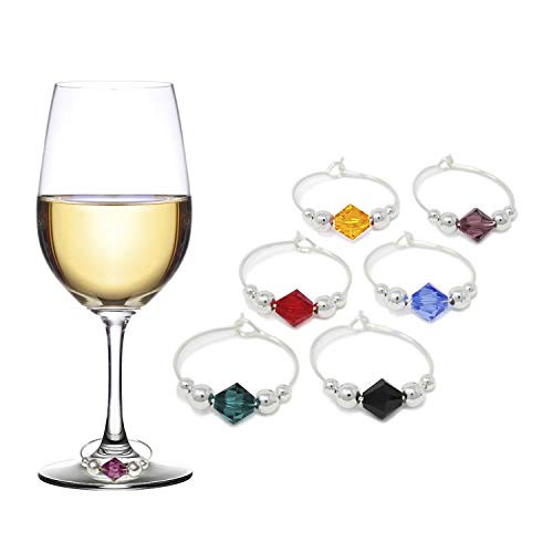 Swarovski Crystal Wine Charms  Drink Markers - Set of 6 - Wine Glass Charms by Claim Your Glass CYG - Storage travel pouch Included