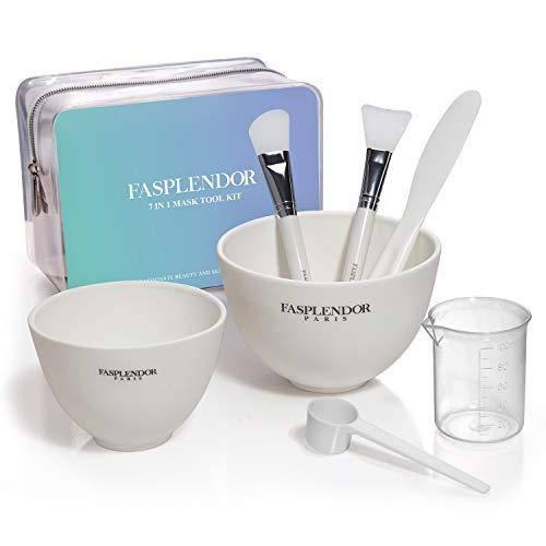 FASPLENDOR Masque Facial Kit d'outils 7 en 1, DIY Pell-Off Masque Applicateur avec Brosse en Silicone, Bols de Mélange, Spatule, Tasse à Mesurer et Cuillère, Trousse de Maquillage Transparente