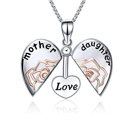 Regalos para mamá Plata de ley Madre Amor Hija Medallón Flor rosa Corazón Colgante Collar Joyería Regalos para mujeres Madre Hija