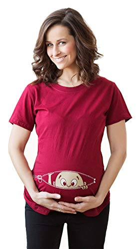 Maternity Baby Peeking T Shirt Funny Pregnancy Tee for Expecting Mothers (Red)