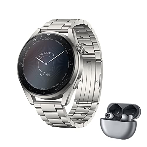 HUAWEI WATCH 3 Pro- 4G Smartwatch, 1.43'' AMOLED Display, eSIM Telefonie, 30 Monate Garantie, Edelstahlarmband + FreeBuds Pro, Silver Frost