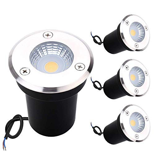 GreenClick LED-Bodenlicht, 3 W, COB Landschafts-Licht mit Niederspannung, energiesparend, IP67 wasserdicht, weiches Licht, leuchtet im Innen- und Außenbereich, Garten, Weg, Deck, Warmweiß, 4 Stück