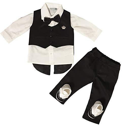 Dilaras Babybekleidung Taufanzug 4 Teilig Baby Jungen (Schwarz, 56/62 (0-3 Monate, Weste mit 3 Knöpfen))
