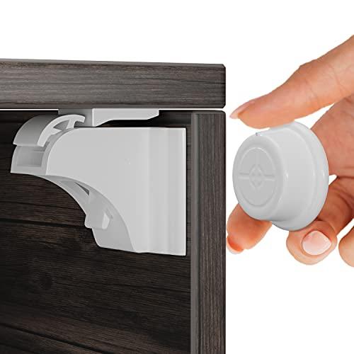 Magnetische Kindersicherung mit Montagehilfe 12+3 Hoffenbach® Germany | Schranksicherung 3M zum kleben | Schubladensicherung unsichtbar für Baby und Kinder