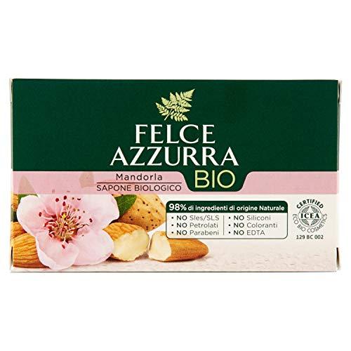 Felce Azzurra Bio-Seife Mandel - sanft pflegende Stückseife mit organischem Mandelmehl für einen feinen Peelingeffekt - dermatologisch getestet - 1er Pack (1x 125g)