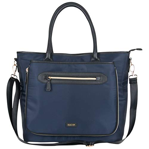 Kenneth Cole Reaction Women's Silky Polyester Top Zip Anti-Theft RFID Expandable 15' Laptop & Tablet Business Tote, Navy