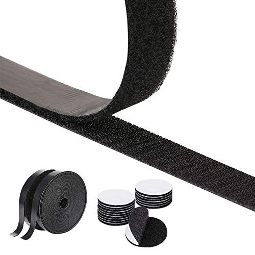 Klettband Selbstklebend Extra Stark, Double-Sided Sticky Tape with 50 Pairs Adhesive Pads Double-Sided Adhesive, Velcro Fastener, Self-Adhesive Adhesive Pad, 20 mm Wide, Black