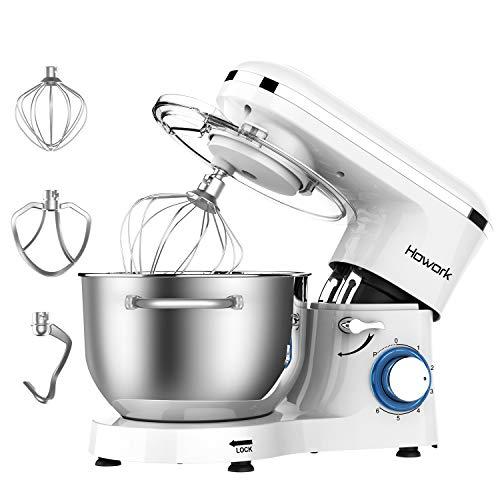 Howork Küchenmaschine, 1500W mächtig Motor Knetmaschine Praxis Rührmaschine 6.2L, 6-stufige Geschwindigkeit Teigmaschine mit Rührbesen, Knethaken, Spritzschutz, Schläger (6.2 L, Weiß)