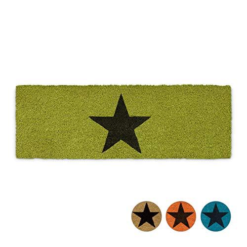 Relaxdays Fußmatte schmal STERN aus Kokos und Gummi PVC als Fußabtreter für Außen & Innen Eingangsmatte mit rutschfestem Boden als Türvorleger und Türmatte HBT: 1,5 x 75 x 25 cm, grün
