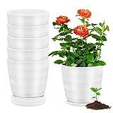 EKKONG 10 Piezas Macetas Plastico,con Diseño en Espiral Tiestos para Plantas,Maceta Bonsai ,Decorativa para Plantas de Plantas de Interior y Oficina Macetas (Blanco)