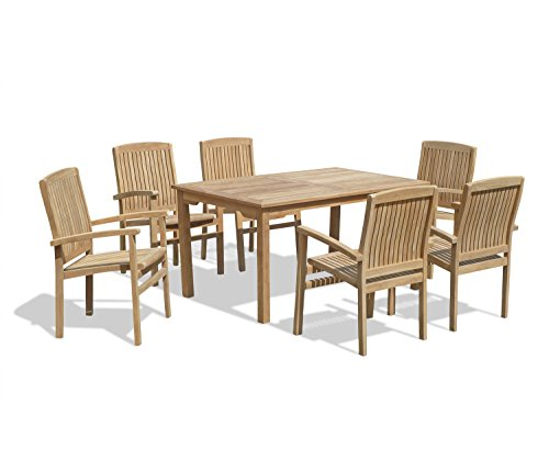 Jati Hampton Rectangular Garden Table 0.9m and 6 Cannes Teak Stacking Chairs Brand, Quality & Value