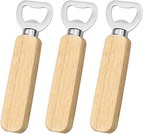Xchmtech Abrebotellas de mango de madera portátil de 3 piezas para refrescos y refrescos