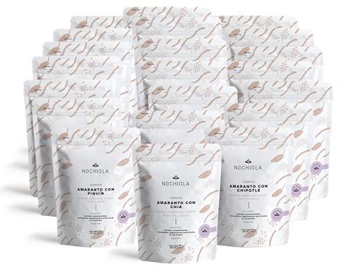 Nochiola Snacks Saludables Combo Churritos de Amaranto: Chia, Piquín y Chipotle (21 piezas, 50g c/u)