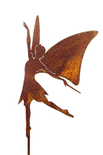 Gartenstecker Fee 95cm Edelrost Rost Gartendeko Beet Stecker rostige Deko für den Garten Rostdeko Rankstab Figur Beetstecker