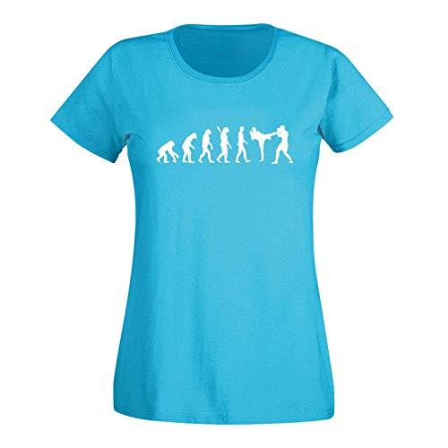 T-Shirt Evolution Kickboxen Kampfsport Karate Boxen MMA 15 Farben Damen XS - 3XL Kampfkunst Muay Thai Jiu Jitsu Taekwondo Cage-Fight, Größe:XL, Farbe:türkis - Logo Weiss