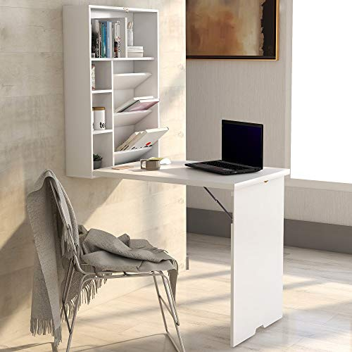 Convertible Wall Mounted Table, Folding Computer Laptop Desk, Home Office Wood Convertible Writing Desk with Bookcase Storage (White)