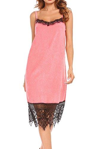 Zeela Abito da donna, elegante, senza maniche, lunghezza al ginocchio, con bordo in pizzo Colore: rosa. XL