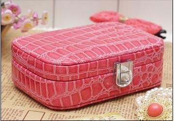 1PCS PU Leather Crocodile Fashion Jewelry Box Organizer-Jewelry Box for Women-Jewelry Box with Necklace-Jewelry Box for Rings-Gift Box Holder For Earrings Necklace Bracelet Jewelry (Fuchsia)
