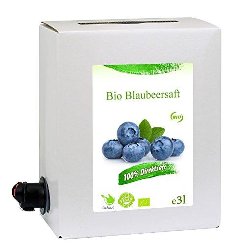 GutFood - 3 Liter Bio Heidelbeersaft - Bio Heidelbeeren Saft in praktischer Bag in Box Packung ( 1 x 3 l Saftbox ) - Muttersaft aus Bio Blaubeeren, Spitzenqualität aus ökologischem Landbau
