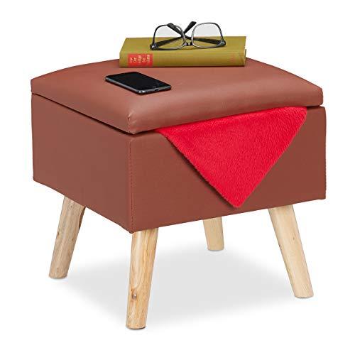 Relaxdays Pouf Contenitore in Ecopelle, 40 x 40 x 40 cm, Sgabello Cubo Imbottito, Marrone, Legno, Similpelle, gommapiuma, 1 pz