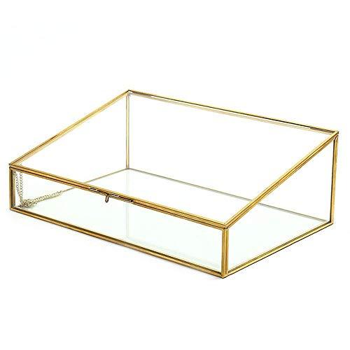 zvcv Schmuck Veranstalter Golden Vintage Messing & Klarglas Schmuckkasten Box Veranstalter Dekorative Wohnkultur (Farbe: Gold, Größe: 30 * 20 * 10,5 cm)