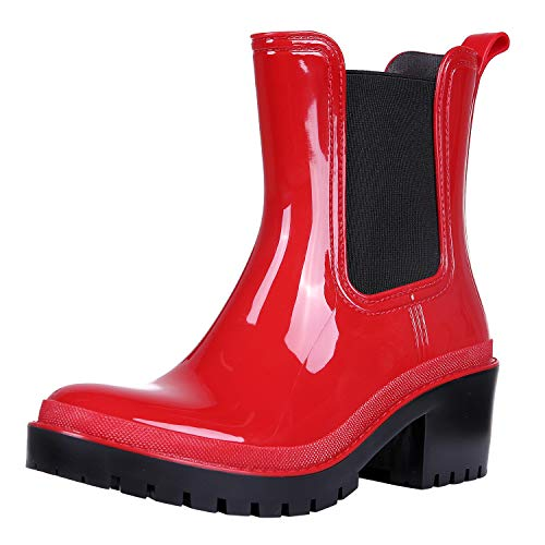 Platform Rain Boots for Women Chunky Heel Waterproof Ankle Boots Red 8