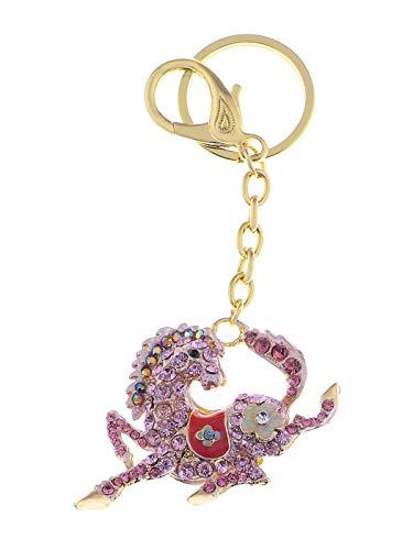 Alilang sprankelende metalen paard sleutelhangers voor vrouwen meisjes geschenken auto portemonnee dier hanger bedeltjes (roze)