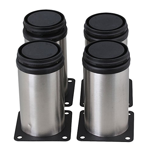 BQLZR Stainless Steel Kitchen Adjustable Feet Round 2' Dia Furniture Leg Pack of 4