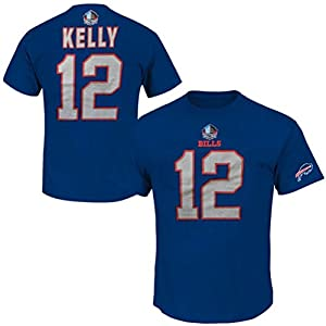 Jim Kelly #12 Buffalo Bills NFL Mens 3 Hit Hall of Fame Player Shirt Royal Blue Big & Tall Sizes (4XT)