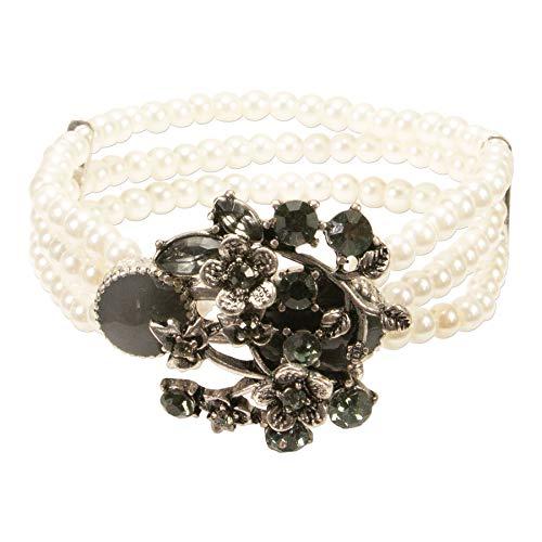 Alpenflüstern Perlen-Trachten-Armband Theresa - elastisches Trachten-Armband mit floralen Mittelstück, nostalgischer Damen-Trachtenschmuck, Perlenarmband grau DAB063